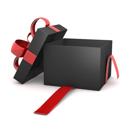 Opened black gift carton with red ribbon on the white background.
