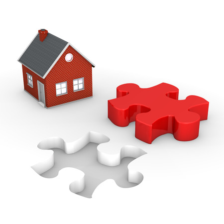 red puzzle piece: Puzzle hole with red puzzle piece and house on the white.