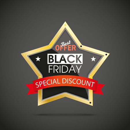 advertise: Black friday advertise with golden star on the dark background. Eps 10 vector file.