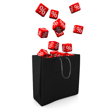 onlineshop: Black shopping bag with red cubes and percents. 3d illustration.