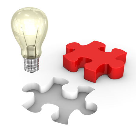 company job: Red puzzle with puzzle hole and bulb on the white. Stock Photo