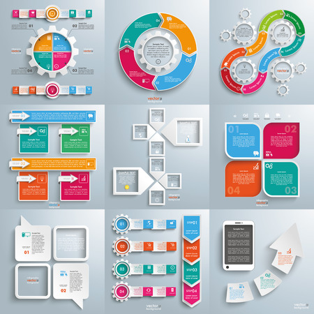 Set of 9 high quality infographic designs on the gray background. Eps 10 vector file.