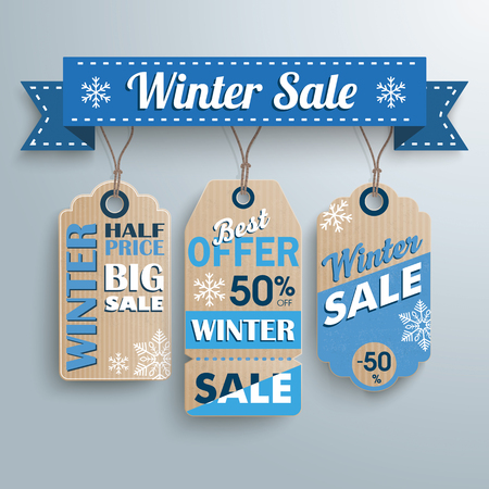 reklame: Ribbon with price stickers for winter sale. Eps 10 vector file.