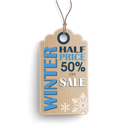price sticker: Cardboard hanging price sticker for winter sale on the white background.  Eps 10 vector file.