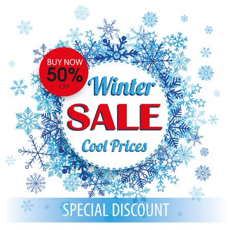Cercles de papier avec des flocons de neige et onglet pour la vente d'hiver. Eps 10 fichier vectoriel. Banque d'images - 50625458