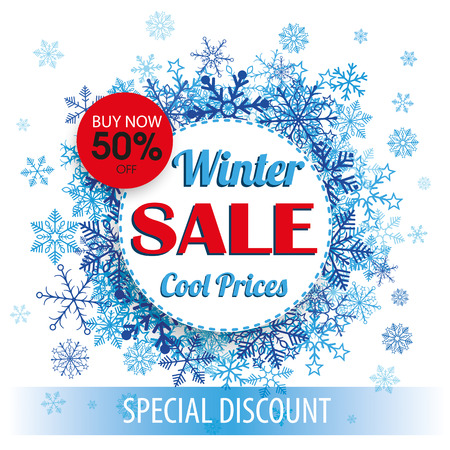 Paper circles with snowflakes and tab for the winter sale. Eps 10 vector file. Illustration