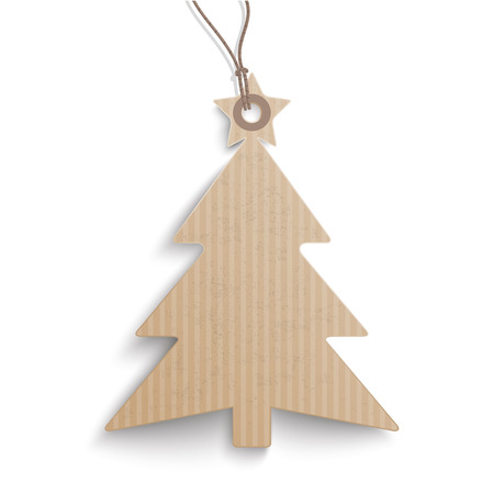 price sticker: Cardboard hanging Christmas Tree price sticker on the white background.  Eps 10 vector file. Illustration
