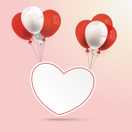 chit: Heart with balloons on the rose background. Eps 10 vector file.