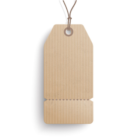 Cardboard hanging long price sticker on the white background.  Eps 10 vector file.