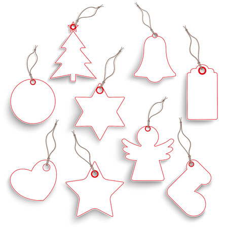 reklame: White hanging Christmas price stickers set on the white background.  Eps 10 vector file. Illustration