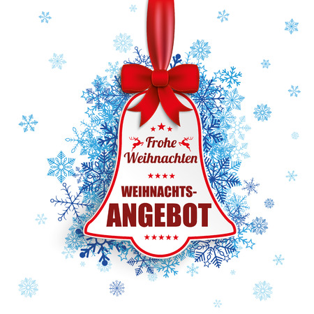 church bell: German text Frohe Weihnachten, Weihnachtsangebot, translate Merry Christmas, Christmas Sale. Eps 10 vector file. Illustration