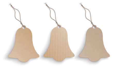church bell: 3 cardboard bell hanging price stickers on the white background.  Eps 10 vector file. Illustration