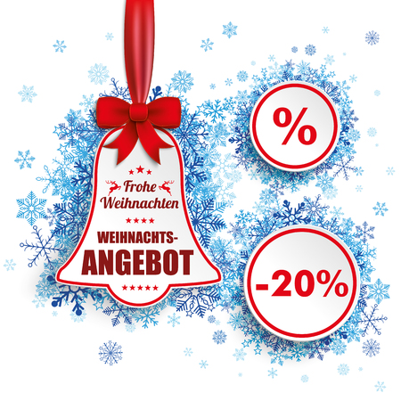 weihnachten: German text Frohe Weihnachten, Weihnachtsangebot, translate Merry Christmas, Christmas Sale. Eps 10 vector file. Illustration