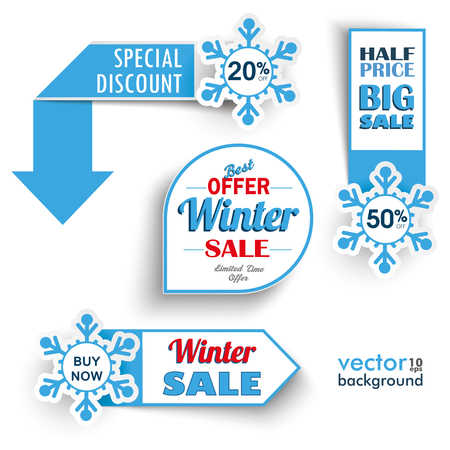blue arrow: Paper banners with snowflakes for the winter sale. Eps 10 vector file.