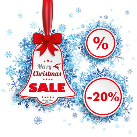 church bell: Bell price sticker with red ribbon, circles and blue snowflakes on the white background. Eps 10 vector file.