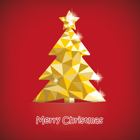 gold christmas background: Christmas tree with low poly design on the red background. Eps 10 vector file.
