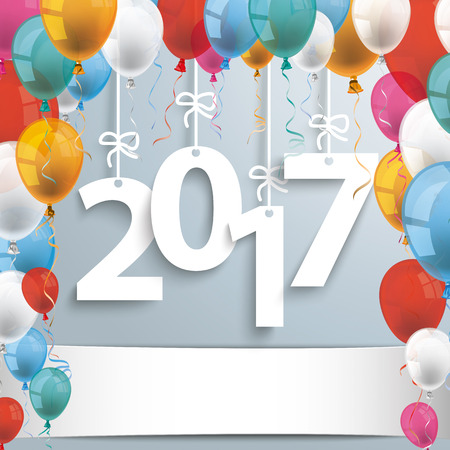 the end of the year: 2017 with colored balloons on the gray background. Eps 10 vector file.