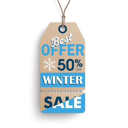 reklame: Cardboard hanging long price sticker for winter sale on the white background.  Eps 10 vector file. Illustration