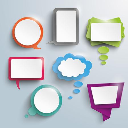 dialogo: Siete abstractas del discurso y pensamiento burbujas en el fondo gris. EPS 10 del vector.