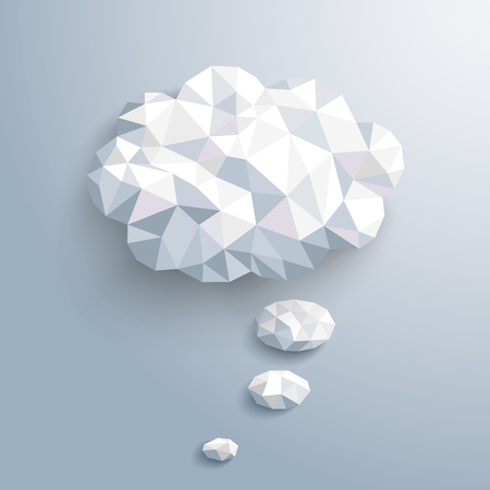 Low poly paper thought bubble on the gray background. Eps 10 vector file.