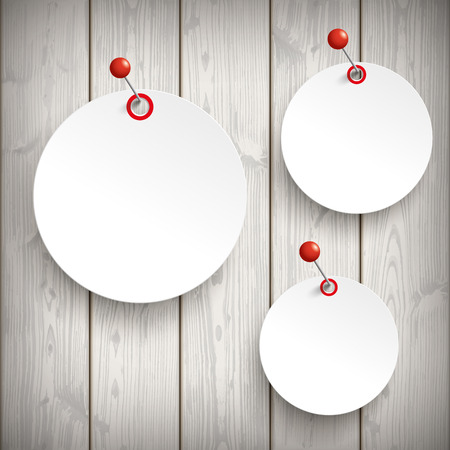 slat: 3 white paper circle stickers with red pins on the wooden background. Eps 10 vector file. Illustration