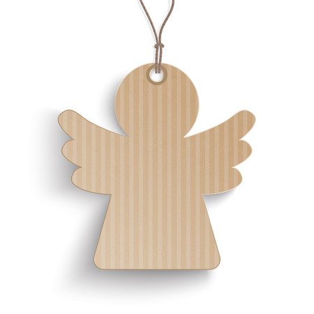 reklame: Cardboard angel price sticker star on the white background.  Eps 10 vector file.