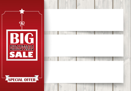 christmas banner: Oblong banner with ribbon for christmas sale on the wooden background. Eps 10 vector file. Illustration