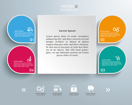 four objects: Infographic design with square and colored drops on the grey background. Eps 10 vector file.