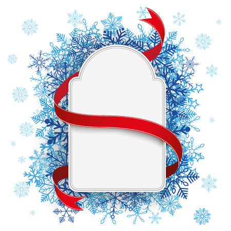 cold storage: White paper label with blue snowflakes on the white background. Eps 10 vector file.