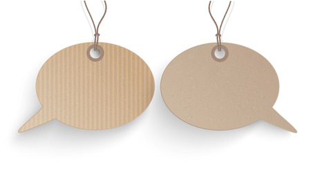 argumentation: Cardboard hanging speech bubble price stickers on the white background.  Eps 10 vector file.