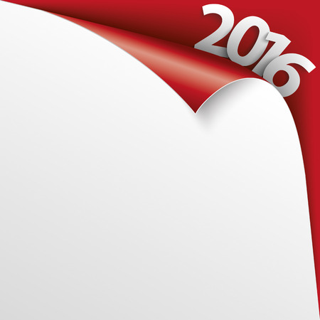 convert: Convert paper cover with text 2016 on the red background. Eps 10 vector file.