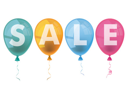 onlineshop: Text Sale with colored balloons on the white background. Eps 10 vector file.