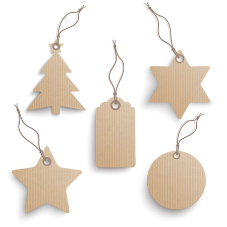 david brown: Cardboard hanging Christmas price stickers set on the white background.  Eps 10 vector file. Illustration