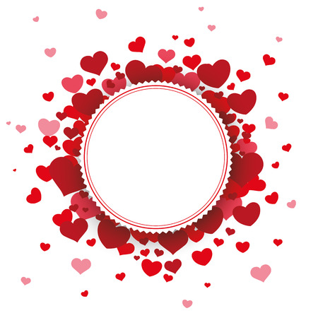 mothersday: White paper emblem with red hearts on the white. Eps 10 vector file.
