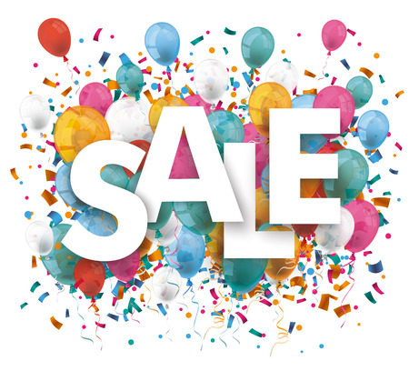 Text sale with colored confetti on the white background. Eps 10 vector file.