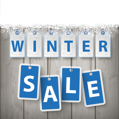laths: Price stickers with text Winter Sale with snow on the wooden background. Eps 10 vector file.