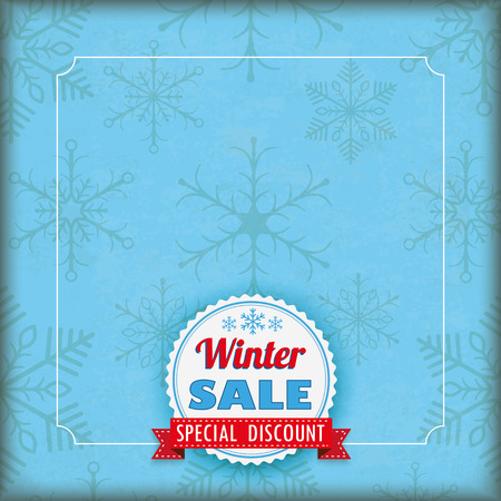special offer: Vintage blue cyan cover with snowflakes,  white emblem and ribbon. Eps 10 vector file.