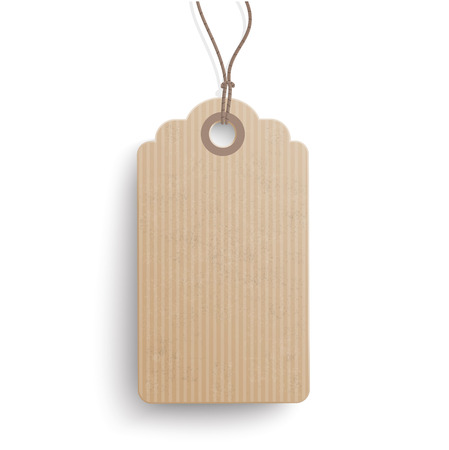 reklame: Cardboard hanging price sticker on the white background.  Eps 10 vector file.