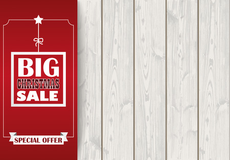oblong: Oblong banner with ribbon for christmas sale on the wooden background. Eps 10 vector file. Illustration