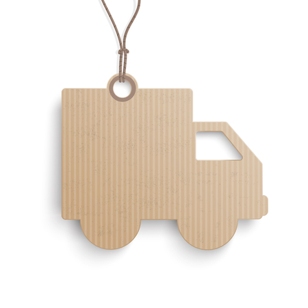 Cardboard price sticker shipping car on the white background.  Eps 10 vector file. Illustration