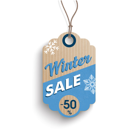 reklame: Cardboard hanging price sticker for winter sale on the white background.  Eps 10 vector file.