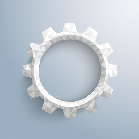 Low poly paper gear on the gray background. Eps 10 vector file.