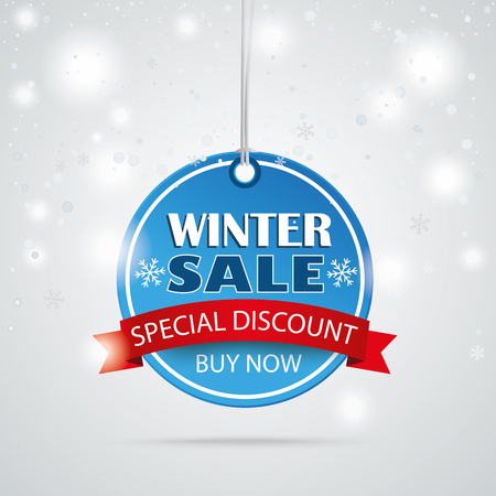 winter sale: Round price sticker with bokeh and snowlfakes for winter sale. Eps 10 vector file.