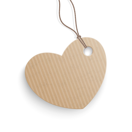 reklame: Cardboard hanging price sticker heart on the white background.  Eps 10 vector file.