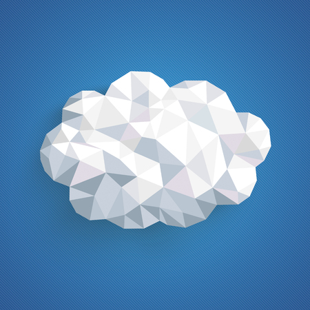 rectangular: Low poly paper cloud on the blue background. Eps 10 vector file.