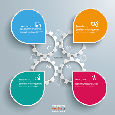4 gears and 4 speech bubbles on the gray background. Eps 10 vector file. Illustration