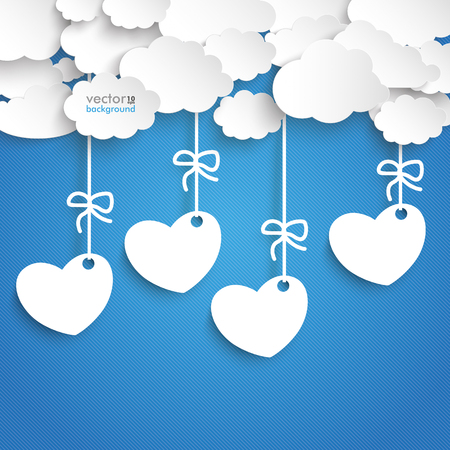 mothersday: Paper clouds with hearts price stickers on the blue background. vector file. Illustration