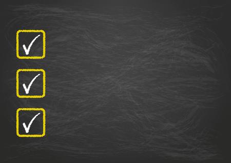 disposition: Blackboard checklist with 3 ticks.