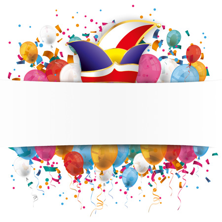 White paper banner, jesters cap, colored balloons and colored confetti. Stock Illustratie