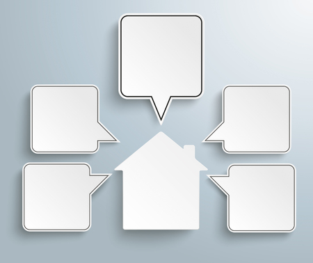 speech bubble: Infographic design with house and speech bubbles on the gray background. Illustration
